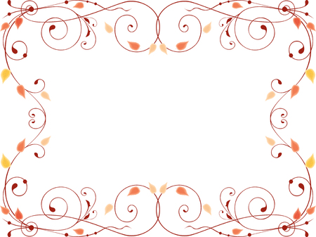 Decorative frame from swirls and leaves Çizim