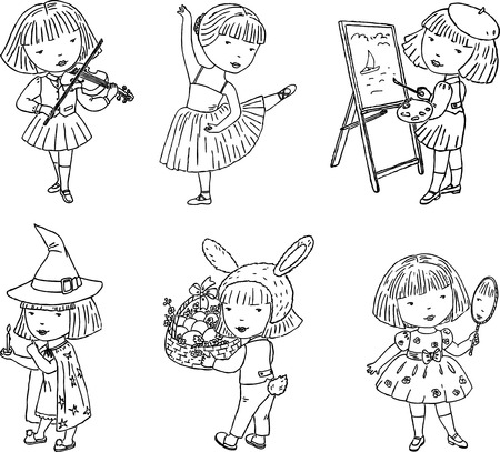 Outline drawings of a little girl and her hobbies