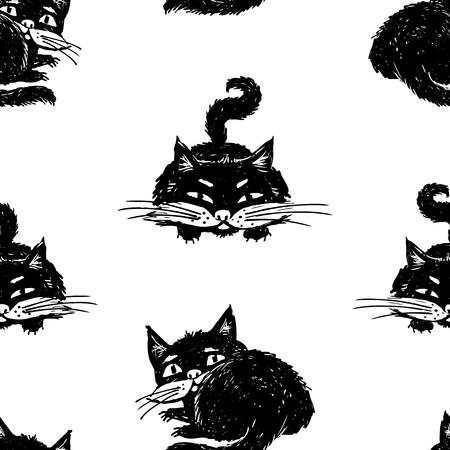 Pattern of drawn black kitten