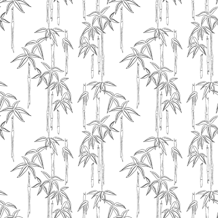Seamless background of bamboo sketches Ilustracja