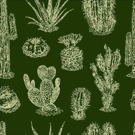 Seamless background of cactuses sketches Ilustracja