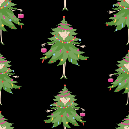 Seamless background of cheerful christmas trees  イラスト・ベクター素材