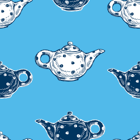 Seamless background of drawn tea pots