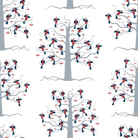 Seamless background of rowan trees with birds
