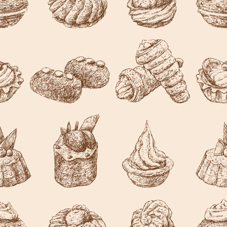 Seamless background of various brownies sketches Ilustracja