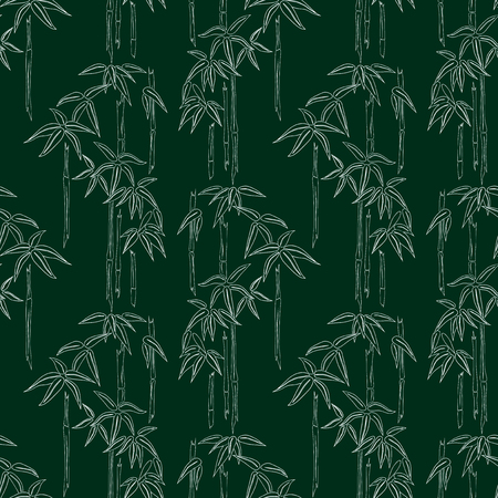 Seamless pattern of bamboo outlines