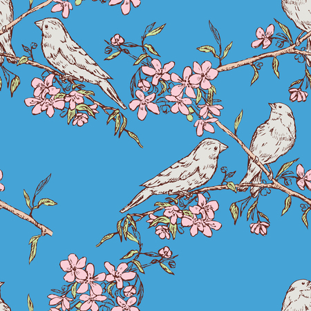 Seamless pattern of birds on flowering branches Ilustracja