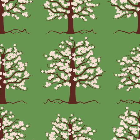 Seamless pattern of flowering fruit tree Illustration