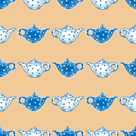 Seamless pattern of teapots sketches  イラスト・ベクター素材
