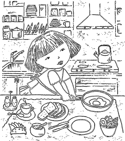 Vector drawing of a little girl preparing a breakfast Ilustracja