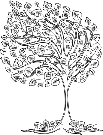 Vector drawing of a tree in the wind