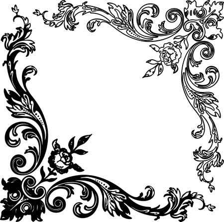 Vector image of vintage floral corners