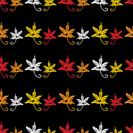 Seamless background of decorative leaves doodles