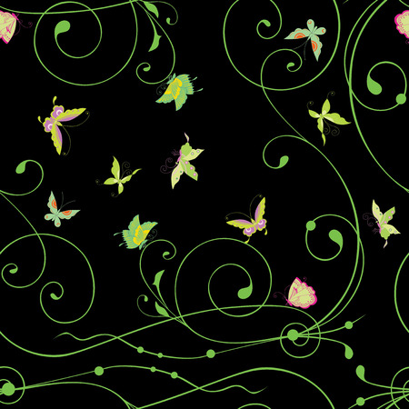 Seamless background of decorative tendrils and butterflies Ilustracja
