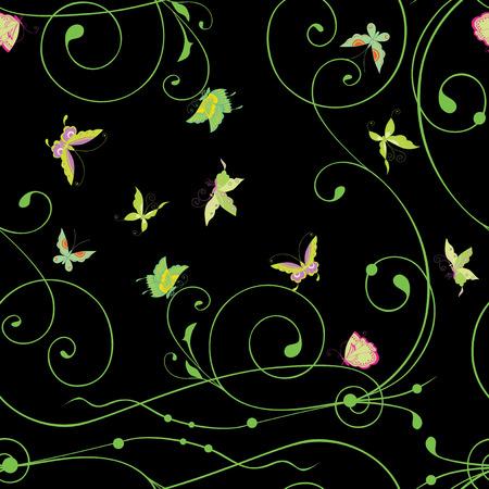 Seamless background of decorative tendrils and butterflies Ilustração