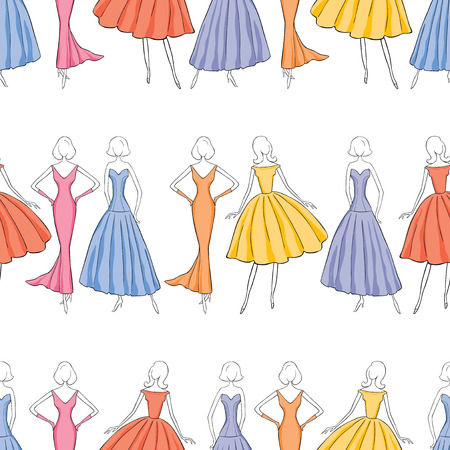 Seamless background of elegant women in evening gowns Ilustracja