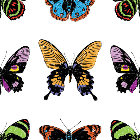 Seamless background of various drawn butterflies