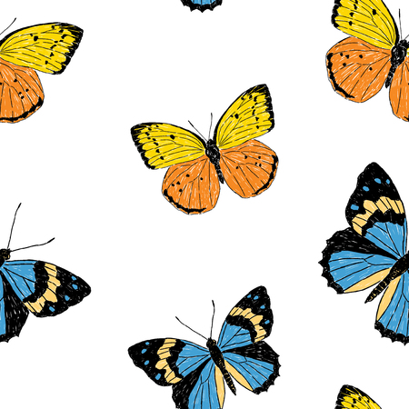 Seamless background of yellow and blue butterflies