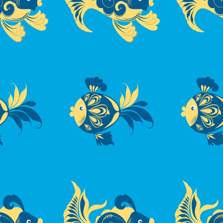 Seamless pattern of decorative fishes