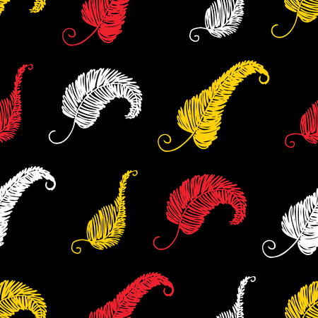 Seamless pattern of decorative leaves doodles