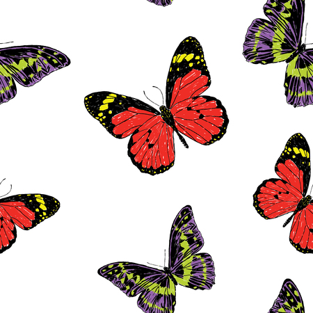 Seamless pattern of drawn butterflies Ilustracja