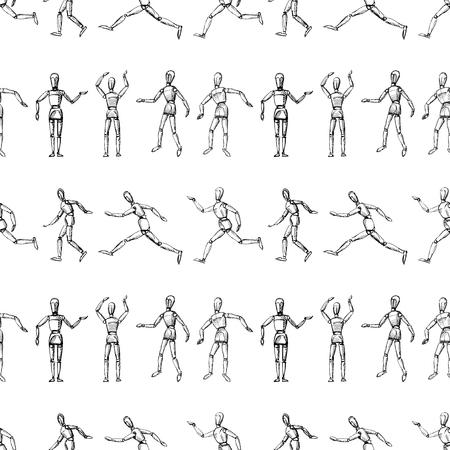 Nahtloses Muster von Skizzen von menschlichen Schaufensterpuppen