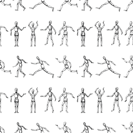 Seamless pattern of sketches of human mannequins