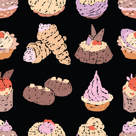 Seamless pattern of various drawn cakes