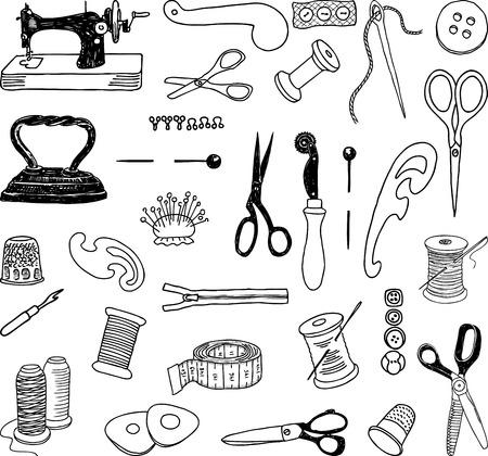Eine Reihe von Geräten für das Nähatelier