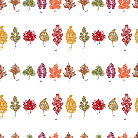 Pattern of different leaves doodles