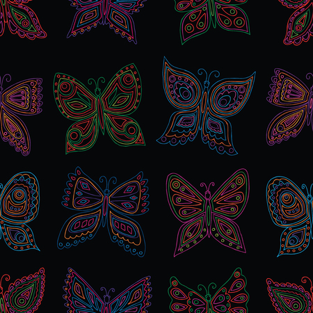 Pattern of outlines of colorful butterflies