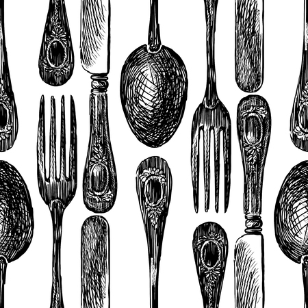 Pattern of sketches of cutlery Ilustracja