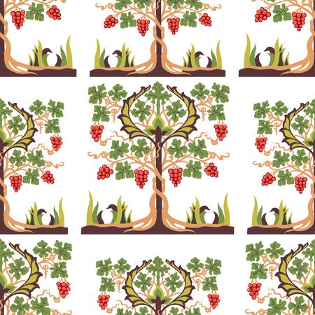 Seamless background of decorative fruit tree