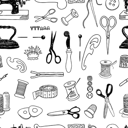 Seamless background of tools for sewing Ilustracja