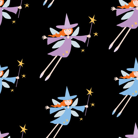Seamless background of flying young witches Ilustracja