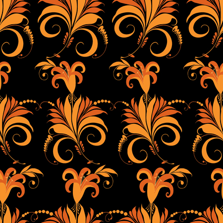 Seamless pattern of decorative fabulous flowers Ilustracja
