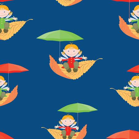 Seamless pattern of elves girls flying on the leaves