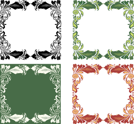 A set of decorative floral frames Ilustracja
