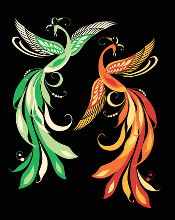 Illustration of decorative fabulous birds Ilustracja