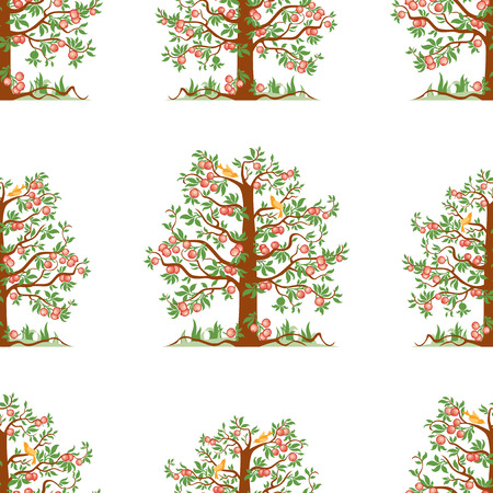 Seamless pattern of apple trees with ripe apples
