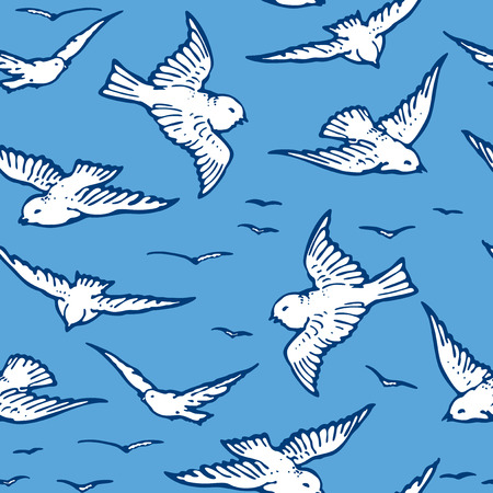 Seamless pattern of flying white birds Zdjęcie Seryjne - 127660844
