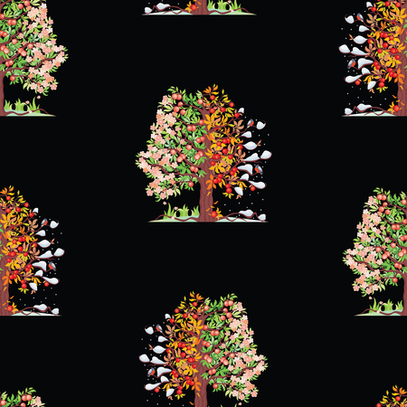 Seamless background of apple trees in various seasons Ilustração