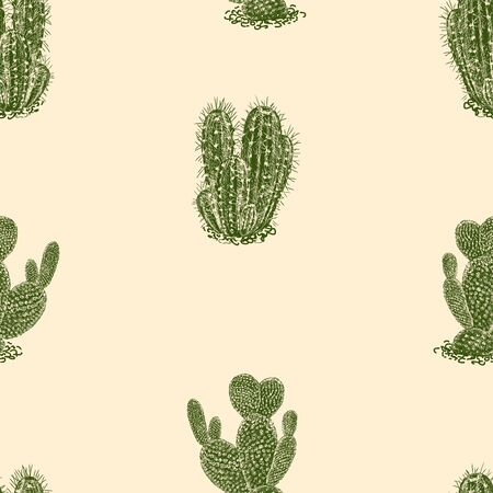 Seamless background of drawn tropical cactuses