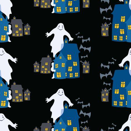 Seamless background of ghosts in the city on Halloween night Zdjęcie Seryjne - 127660856