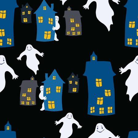 Seamless pattern of ghosts in the city on Halloween night
