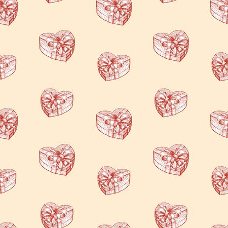 Seamless pattern of gift boxes in the  heart shape 写真素材 - 127660860