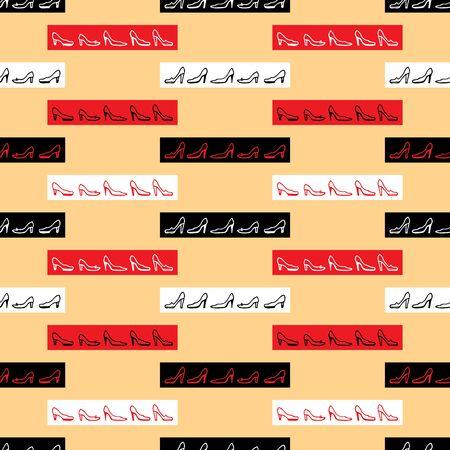 Seamless pattern of outlines of various female shoes Zdjęcie Seryjne - 127660861