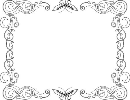 Vector decorative frame from tendrils and butterflies