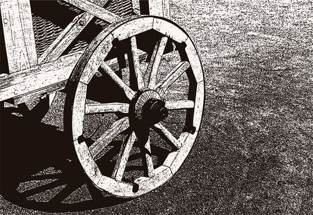 Vector illustration of a wooden wheel of an old cart