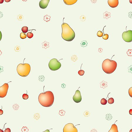 Seamless background of drawn fruit and flowers